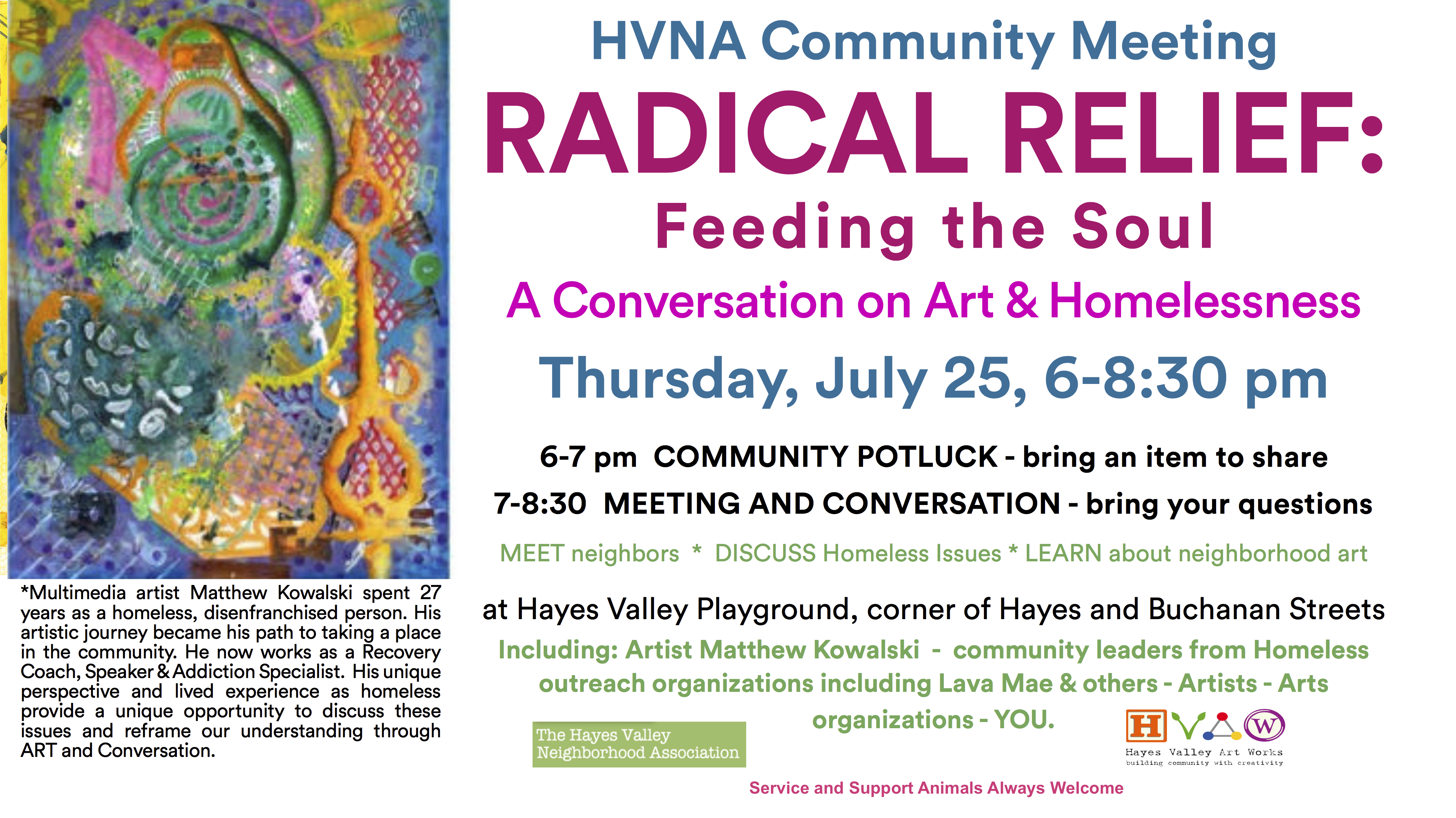 HVNA Radical Relief Community Meeting - Animals welcome
