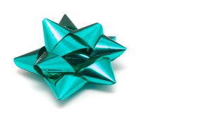 Ornate cyan bow for gift wrapping